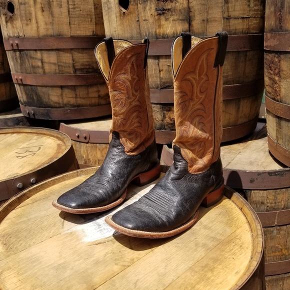 black ostrich cowboy boots